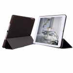 4-folding Hairline Texture Leather Case Brown (WP03050008) for iPad Air